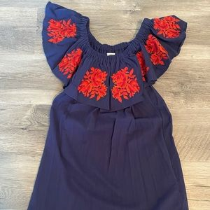 Umgee Navy Dress with Floral Design
